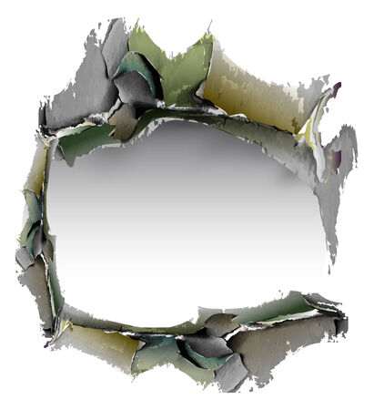 mur platre: Grunge background avec trou de pl�tre fissur� dans le mur