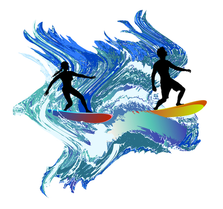 turbulent: Silhouettes of two surfers in turbulent waves