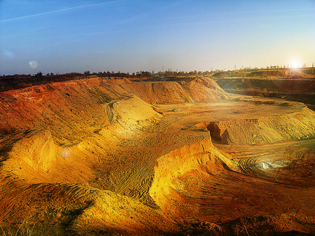 sand quarry: Sand quarry at sunrise