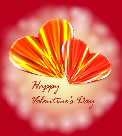 Valentine card with two burning hearts Vector