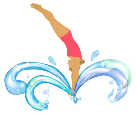 jumping into water: Girl in a pink swimsuit jumping into water Illustration