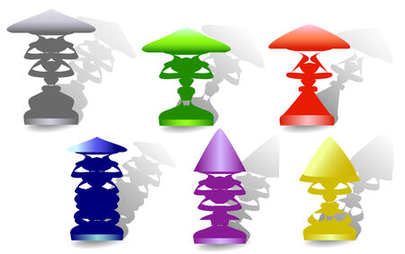 Set of colorful vintage lamp with shadows