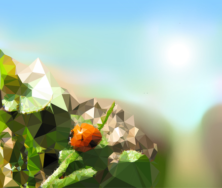 field trip: Summer background of polygons with ladybug and field trip