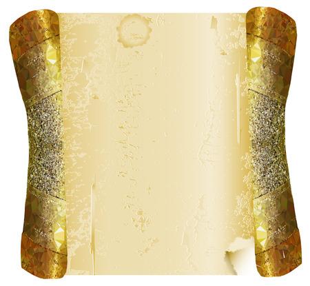 Vintage gold geknackt Pergamentrolle Standard-Bild - 34036844
