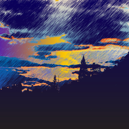 Landscape with silhouettes of trees and storm clouds Vector