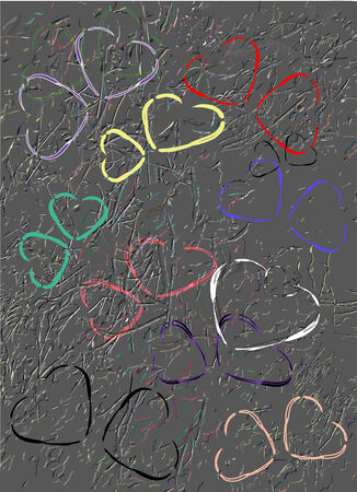 Grunge wall background with scratched hearts Vector