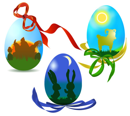 Easter eggs with silhouettes of animals and ribbons Vector