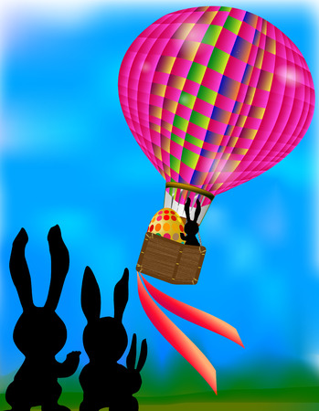 Easter card with hot air balloon and silhouettes hare Vector