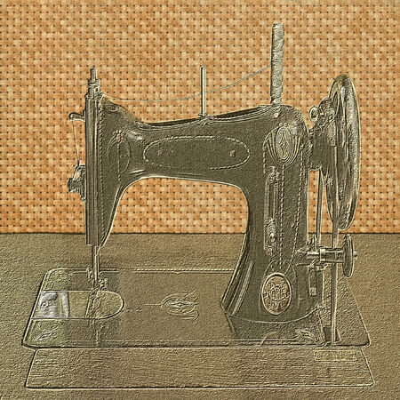 Old sewing relief machine on a background of embossed cloth photo