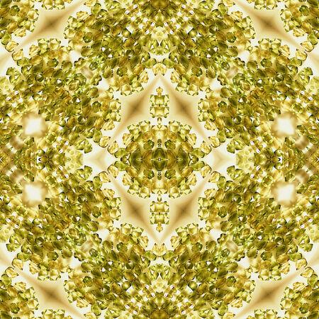 resembling: Kaleidoscopic background of golden crystals resembling diamonds