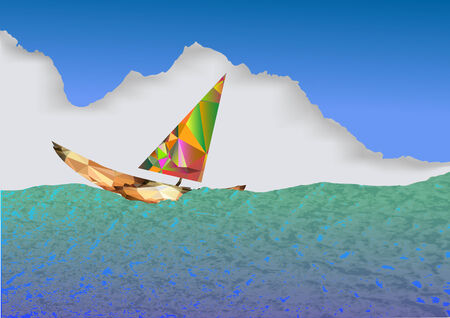 yellow adventure: Background with blue and green sea, sailboat and cloud Illustration