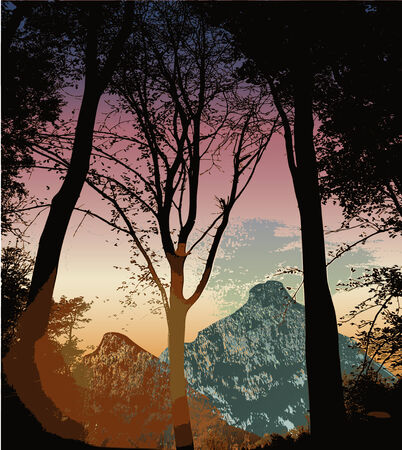 Mountain landscape with silhouettes of trees at sunset Vector