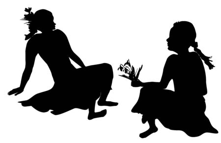 two girls: Silhouettes of two girls with spring flowers