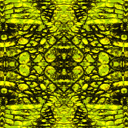 Abstract gold and green pattern with stylized reptile scales