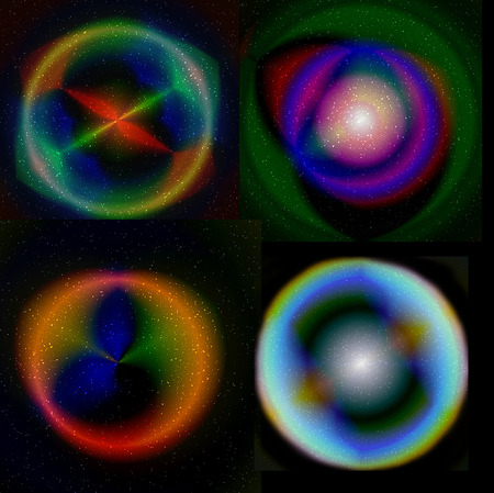 color spectrum: Abstract circular glowing objects with rays and color spectrum Stock Photo
