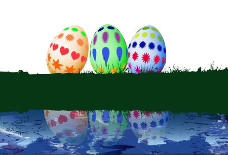 water reflection: Three Easter eggs on grass with a water reflection Illustration