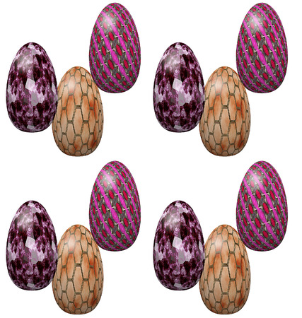 chain food: Seamless pattern with pink and orange Easter eggs with marble, chain and textile texture Stock Photo