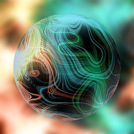 magic ball: Magic ball of light with glowing green and orange rays Stock Photo
