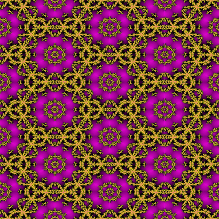 entwined: Seamless fractal pattern with pink flowers and gold entwined circles