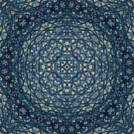 Abstract blue pattern resembling oriental rug with ornamental pattern