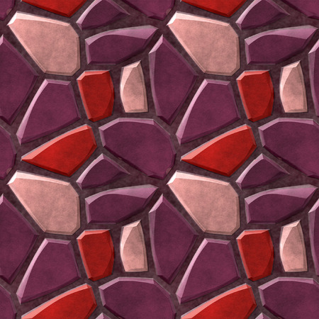 Seamless pavement mosaic pattern of pink and red sharp stones photo