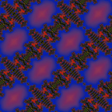 bristly: Abstract seamless blue and red fractal pattern with bristly spikes
