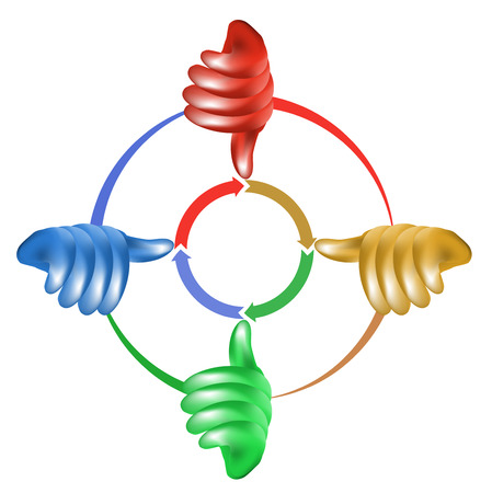 Stylized colored diagram with hands and arrows Vector