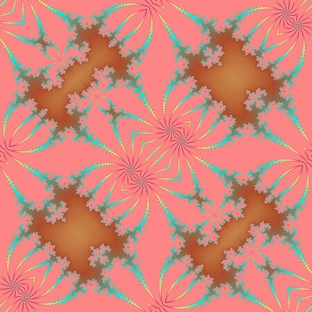 scalloped: Pink fractal background with stylized flowers and scalloped structure