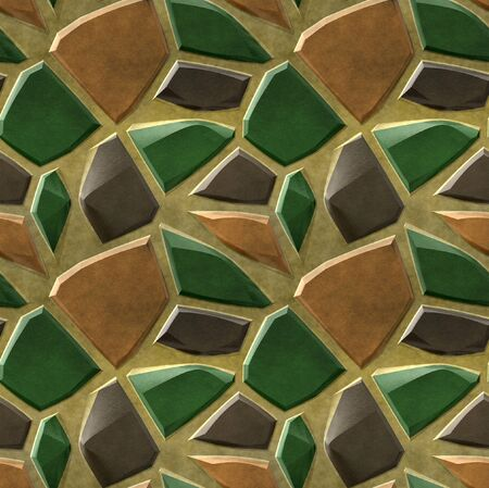 Seamless pavement mosaic pattern of green, brown and orange sharp stones photo
