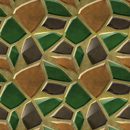 green brown: Seamless pavement mosaic pattern of green, brown and orange sharp stones Stock Photo