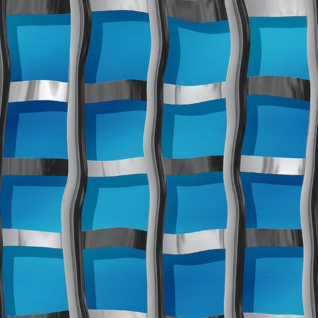 rn: Metal pattern with wraped steel bars on a blue background