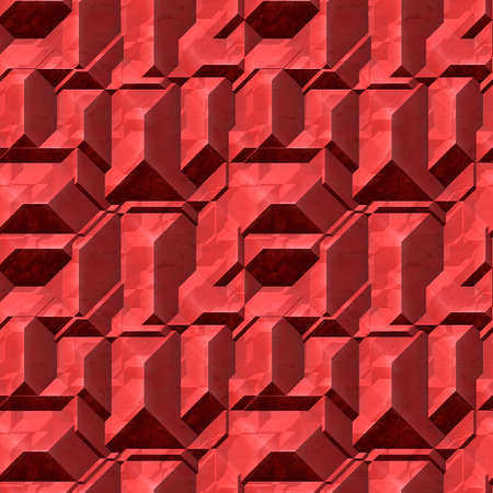 pyramidal: Abstract seamless red pattern of 3d blocks