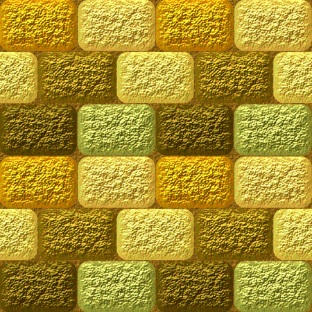 Seamless mosaic 3d pattern of coarse gold, brown and green rounded bricks photo