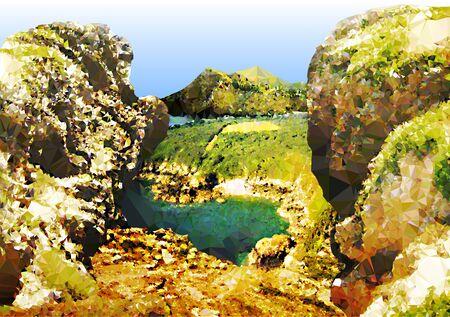 bach: Seelandschaft mit Felsen, Bach und Berge