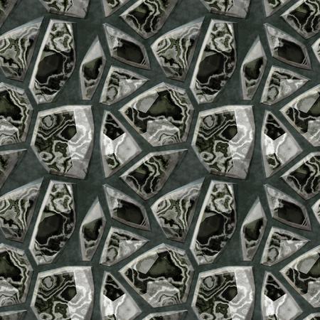 granite floor: Seamless black and white marble pattern of polygonal stones