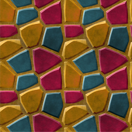 paving stones: Seamless relief pavement pattern of red green and orange stones