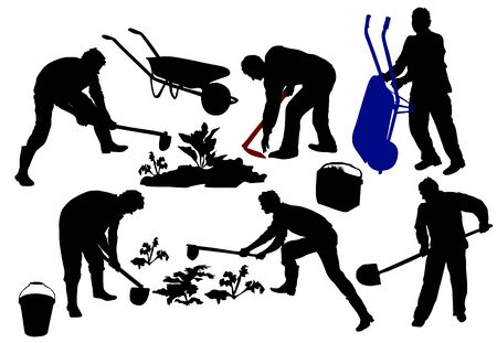 Silhouettes of Farmers working with tools