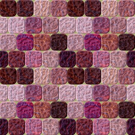 road paving: Seamless pavement pattern of rounded pink and red squares with marbled structure Stock Photo