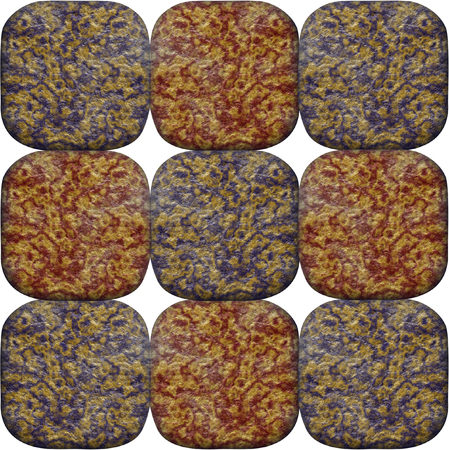 geologists: Seamless pattern of layered veined red and blue rounded stones on a white background Stock Photo