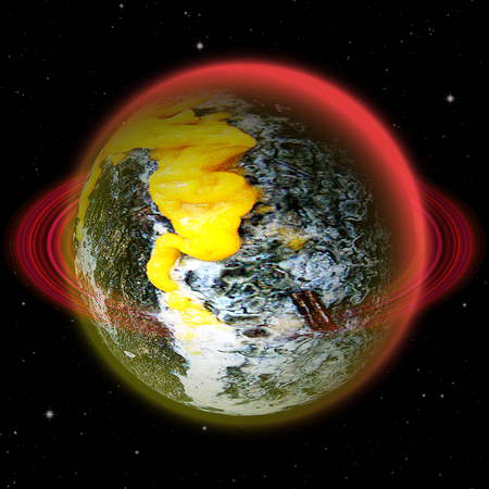 volcanic: Abstract volcanic planet with red ring and lava Stock Photo