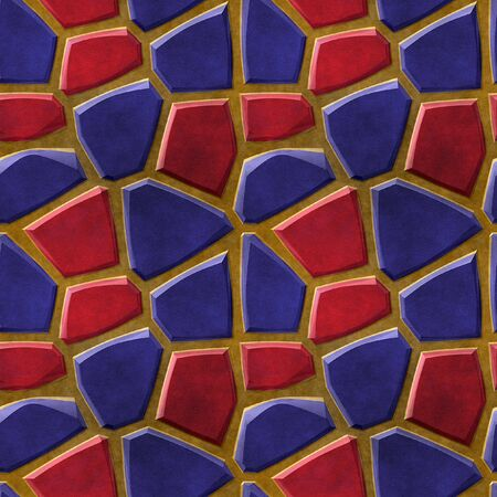 paving stones: Seamless relief 3d floor pattern of red and blue stones