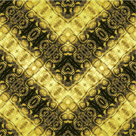 reptile skin: Abstract seamless pattern with brown and gold stripes resembling reptile skin Illustration