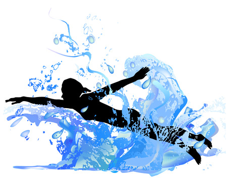 wet girl: Silhouette of a girl swimming in the waves Illustration
