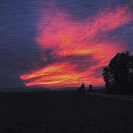 dramatic clouds: Relief embossed landscape with silhouettes of trees and red clouds
