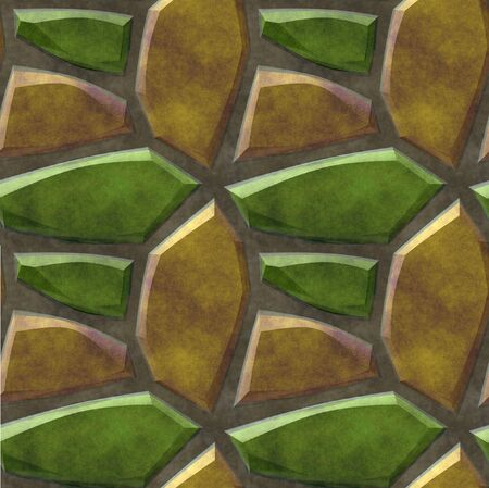 road paving: Abstract seamless floor pattern with green and gold sharp stones