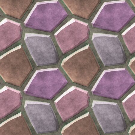 paving stones: Seamless pavement floor pattern of pink and purple brown sharp stones