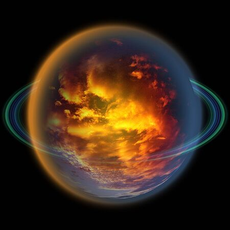 atmosphere: Abstract planet with an atmosphere of red and yellow clouds