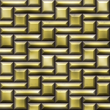 beveled: Seamless mosaic pattern of gold squares and rectangles beveled