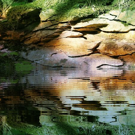 reflecting: Cracked rock structure with grass and lichen reflecting in water