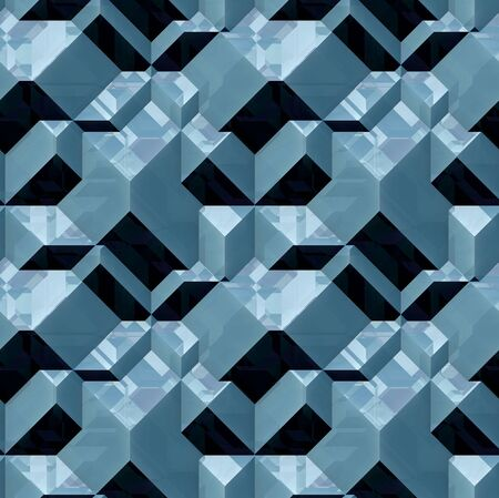 blue 3d blocks: Abstract seamless pattern of 3d blocks blue with light reflections Stock Photo